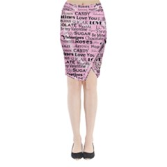 Valentine Love Heart Roses Sweet Pink Midi Wrap Pencil Skirt