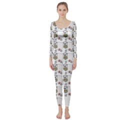 Cow Eating Line Long Sleeve Catsuit