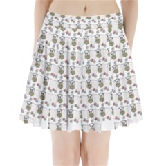 Cow Eating Line Pleated Mini Skirt