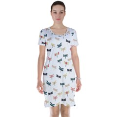 Dragonflies Animals Fly Short Sleeve Nightdress