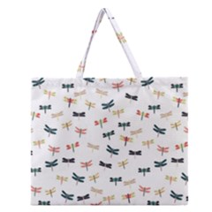 Dragonflies Animals Fly Zipper Large Tote Bag