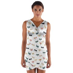 Dragonflies Animals Fly Wrap Front Bodycon Dress