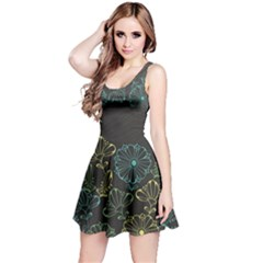 Elegant Floral Flower Rose Sunflower Reversible Sleeveless Dress