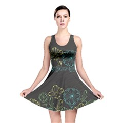 Elegant Floral Flower Rose Sunflower Reversible Skater Dress