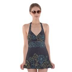 Elegant Floral Flower Rose Sunflower Halter Swimsuit Dress