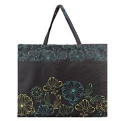 Elegant Floral Flower Rose Sunflower Zipper Large Tote Bag