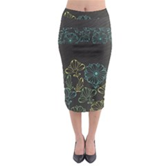 Elegant Floral Flower Rose Sunflower Midi Pencil Skirt