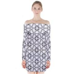 Flower Black Triangle Long Sleeve Off Shoulder Dress
