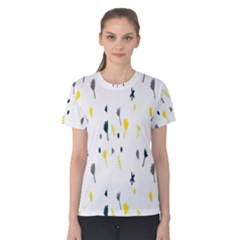 Flower Floral Yellow Blue Leaf Women s Cotton Tee