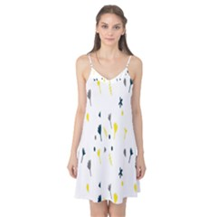 Flower Floral Yellow Blue Leaf Camis Nightgown