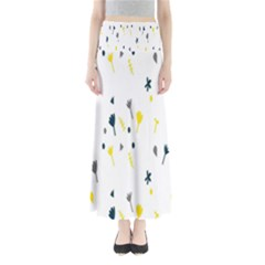 Flower Floral Yellow Blue Leaf Maxi Skirts