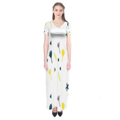 Flower Floral Yellow Blue Leaf Short Sleeve Maxi Dress