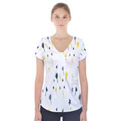 Flower Floral Yellow Blue Leaf Short Sleeve Front Detail Top