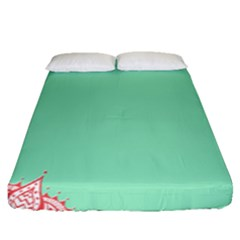 Flower Floral Green Fitted Sheet (queen Size)