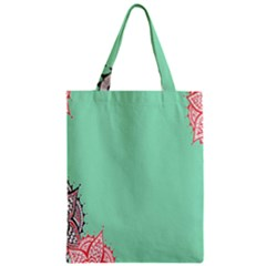 Flower Floral Green Zipper Classic Tote Bag