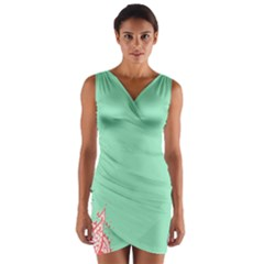 Flower Floral Green Wrap Front Bodycon Dress