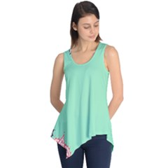 Flower Floral Green Sleeveless Tunic
