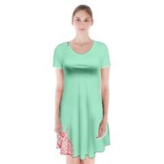 Flower Floral Green Short Sleeve V-neck Flare Dress