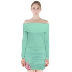 Flower Floral Green Long Sleeve Off Shoulder Dress