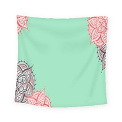 Flower Floral Green Square Tapestry (small)