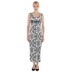 Flower Rose Black Triangle Fitted Maxi Dress