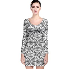 Flower Rose Black Triangle Long Sleeve Velvet Bodycon Dress