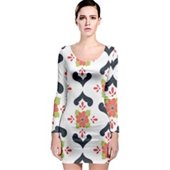 Flower Rose Floral Purple Pink Green Leaf Long Sleeve Bodycon Dress