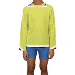 Fun Little Green Wave Kids  Long Sleeve Swimwear