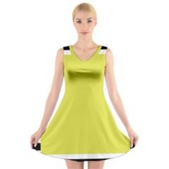 Fun Little Green Wave V-Neck Sleeveless Skater Dress