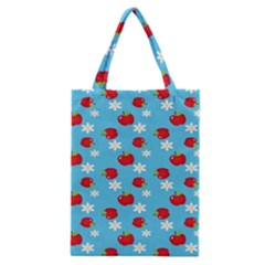 Fruit Red Apple Flower Floral Blue Classic Tote Bag