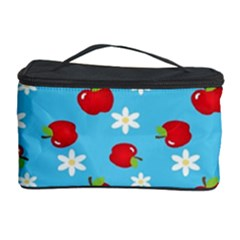 Fruit Red Apple Flower Floral Blue Cosmetic Storage Case