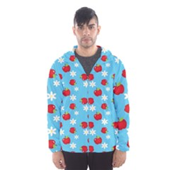 Fruit Red Apple Flower Floral Blue Hooded Wind Breaker (Men)