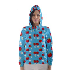 Fruit Red Apple Flower Floral Blue Hooded Wind Breaker (Women)
