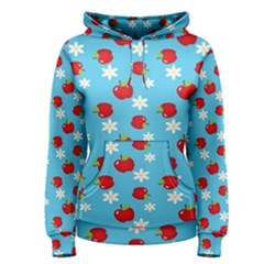 Fruit Red Apple Flower Floral Blue Women s Pullover Hoodie