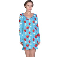 Fruit Red Apple Flower Floral Blue Long Sleeve Nightdress