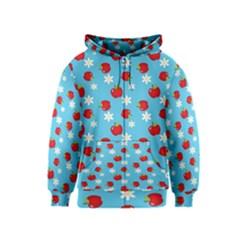Fruit Red Apple Flower Floral Blue Kids  Zipper Hoodie