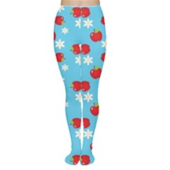 Fruit Red Apple Flower Floral Blue Women s Tights