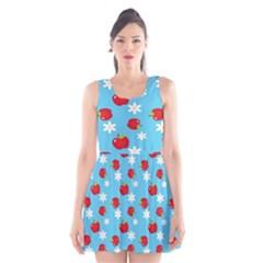 Fruit Red Apple Flower Floral Blue Scoop Neck Skater Dress