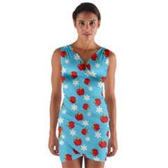 Fruit Red Apple Flower Floral Blue Wrap Front Bodycon Dress