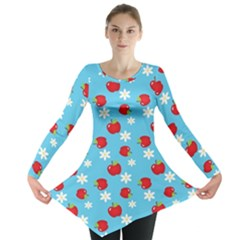 Fruit Red Apple Flower Floral Blue Long Sleeve Tunic