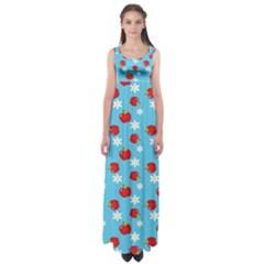 Fruit Red Apple Flower Floral Blue Empire Waist Maxi Dress