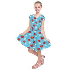 Fruit Red Apple Flower Floral Blue Kids  Short Sleeve Dress