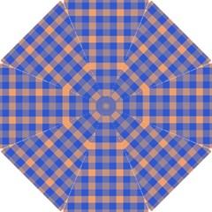 Fabric Colour Blue Orange Hook Handle Umbrellas (Small)