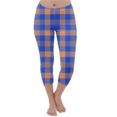 Fabric Colour Blue Orange Capri Winter Leggings