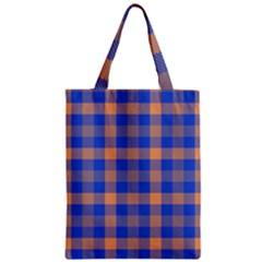 Fabric Colour Blue Orange Zipper Classic Tote Bag