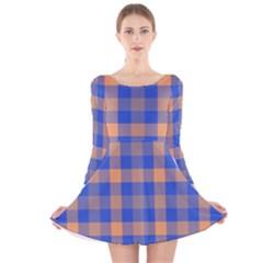 Fabric Colour Blue Orange Long Sleeve Velvet Skater Dress
