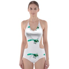 Flying Dragonfly Cut-Out One Piece Swimsuit