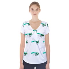 Flying Dragonfly Short Sleeve Front Detail Top