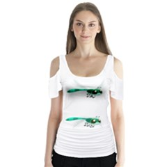 Flying Dragonfly Butterfly Sleeve Cutout Tee