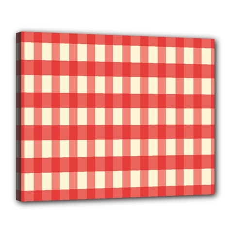 Gingham Red Plaid Canvas 20  x 16